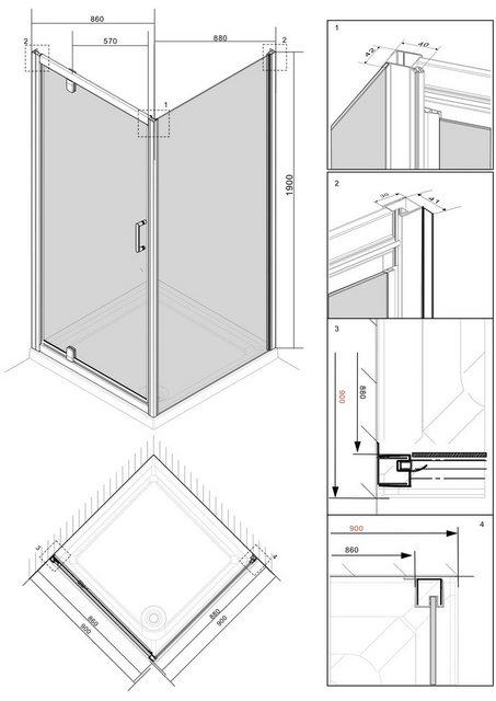 Duschen und Zubehör - welltime Eckdusche »Texas«, BxT 90x90 cm, Sicherheitsglas, inkl. Metallgriffe  - Onlineshop OTTO