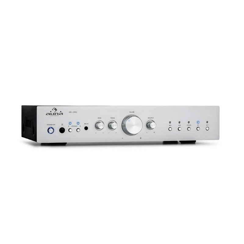 Auna AV2-CD608BT HiFi-Stereo-Verstärker 4x100W RMS BT Dig-Opt-In Fernbedienung silber Verstärker