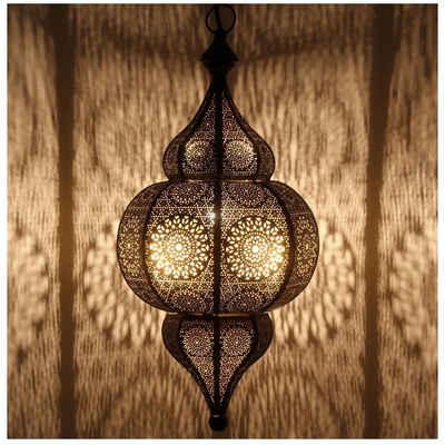 Casa Moro Deckenleuchten »Orientalische Lampe marokkanische Pendelleuchte Moulouk schwarz E27 Fassung mit Baldachin & Aufhängekette, Kunsthandwerk, LN2000«