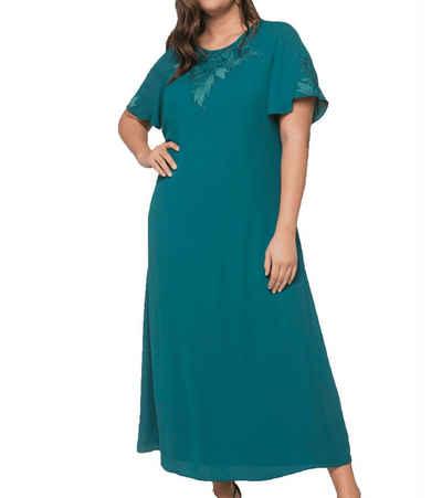 Sheego Abendkleid »sheego Abend-Kleid elegantes Damen Maxi-Kleid mit filigranen Flügelärmeln Ausgeh-Kleid Grün«