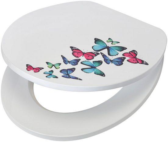 WC-Sitz »Schmetterlinge«, MDF Toilettensitz mit Absenkautomatik