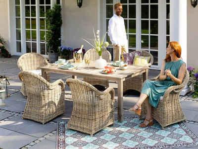 KONIFERA Gartenmöbelset »Sumatra«, (13-tlg), 6 Sessel, Tisch 180x100 cm, Rattan, inkl. Auflagen