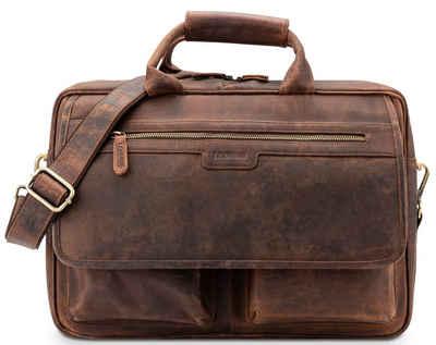 LEABAGS Umhängetasche »Dublin«, Aktentasche Echt-Leder Umhängetasche Laptop 15 Zoll Schultertasche Herren und Damen DIN A4 Format Vintage Look Ledertasche Henkeltasche Businesstasche