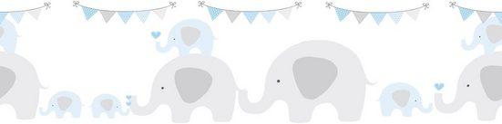 A.S. Création Bordüre »Elephant Party«, glatt, für Baby- und Kinderzimmer, selbstklebend, PVC-frei