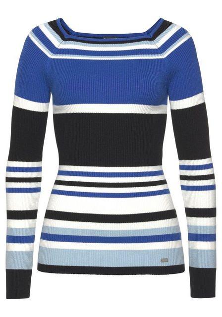 Laura Scott Streifenpullover in feiner Rippenstruktur | Bekleidung > Pullover > Streifenpullover | laura scott