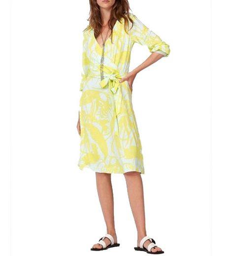 Laurèl Wickelkleid »Laurél Wickel-Kleid feminines Damen Freizeit-Kleid mit Bindegürtel und 3/4-Ärmeln Jersey-Kleid Gelb«