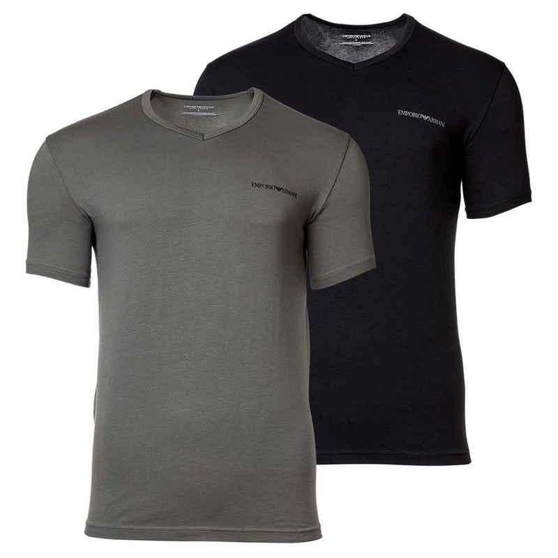 Emporio Armani T-Shirt »Herren T-Shirt, 2er Pack - Kurzarm, V-Neck,«