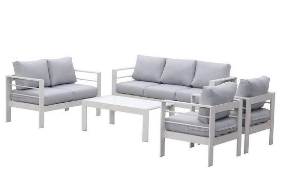 MeXo Gartenmöbelset »Loungeset Aluminium für 6-7 Personen mit Gartensofa Sessel Tisch Indoor Outdoor, inklusive Kissen«, (Sitzgruppe, Alu Gestell)