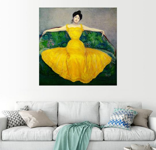 Posterlounge Wandbild, Dame in Gelb