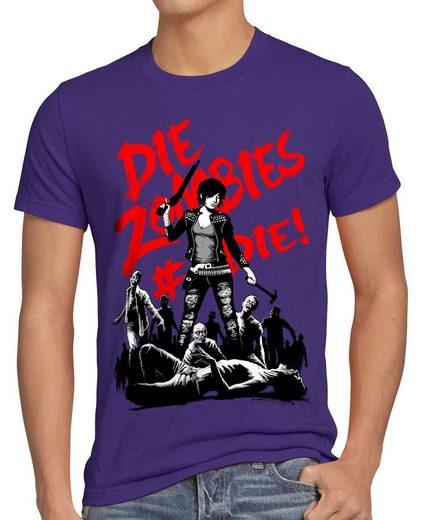 style3 Print-Shirt Herren T-Shirt Zombie the walking horror dead daryl dixon halloween shotgun axt