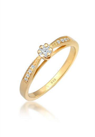 Diamore Diamantring »Verlobung Diamant (0.085 ct) Blume 585 Gelbgold«