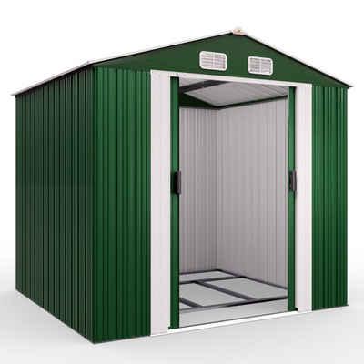 Gardebruk Gerätehaus, XXL Metall 8,4m³ mit Fundament 257x205x177,5cm Schiebetür Grün Geräteschuppen Gartenhaus