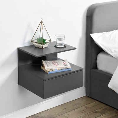 en.casa Ablageregal, »Amberg« - Nachttisch mit Schublade und Ablage - 40x35x31cm - Dunkelgrau