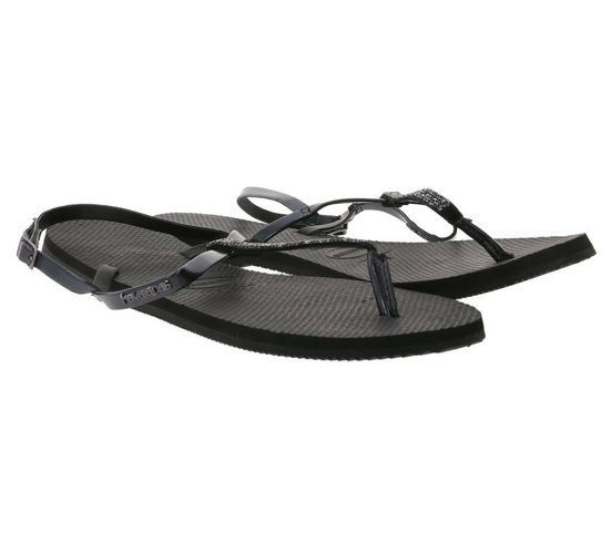 Havaianas »havaianas Pantoletten modische Damen Zehen-Trenner mit glitzernden Riemchen Sommer-Schuhe Schwarz« Zehentrenner