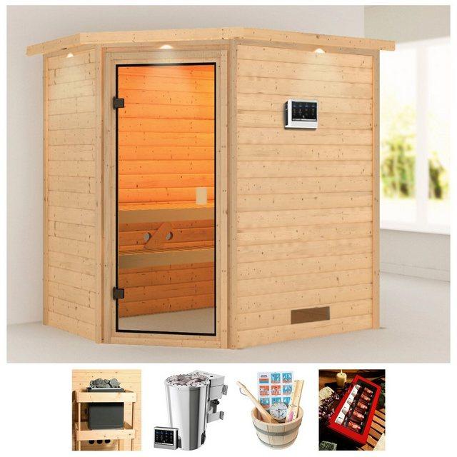 Saunen und Zubehör - KARIBU Sauna »Juli«, 223x159x191 cm, 3,6 kW Plug Play Bio Ofen Strg., Dachkranz  - Onlineshop OTTO