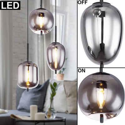 etc-shop Pendelleuchte, Decken Pendel Leuchte Wohn Zimmer RETRO Filament Glas Lampe rauch im Set inkl. LED Leuchtmittel