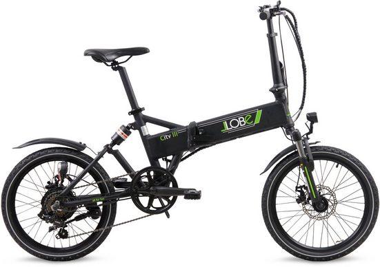LLobe E-Bike »City III schwarz«, 7 Gang Shimano, Kettenschaltung, Heckmotor 250 W