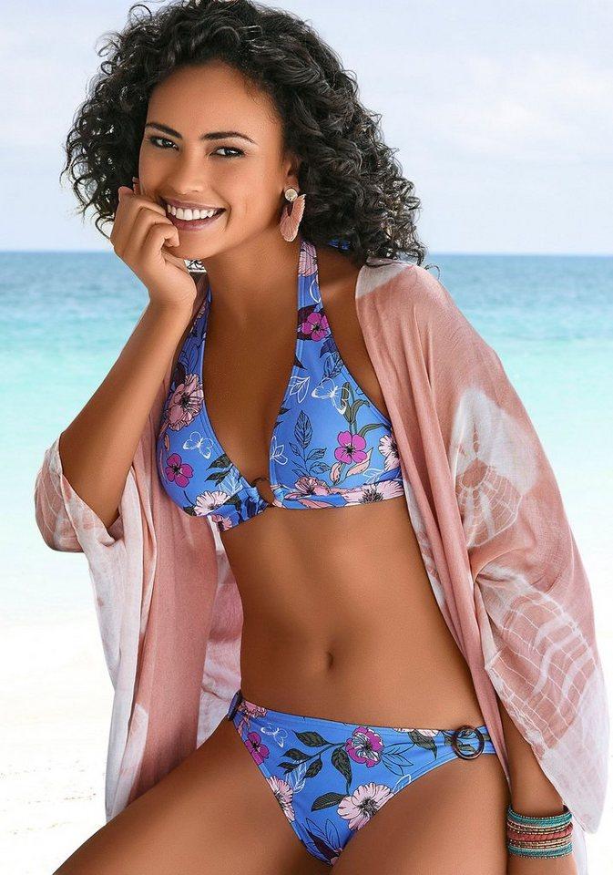 Bademode - s.Oliver Triangel Bikini Top »Maya«, mit Ring in Horn Optik › blau  - Onlineshop OTTO