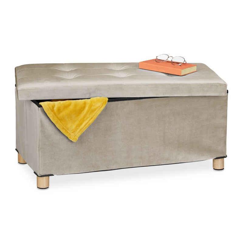 relaxdays Sitztruhe »Sitzbank mit Samtbezug und Holzfüße«, Creme