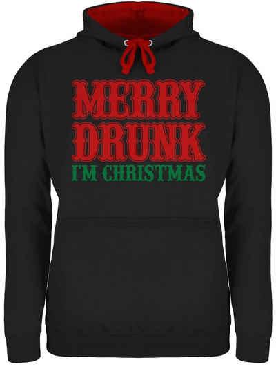 Shirtracer Hoodie »Merry Drunk I'm Christmas - bunt - Weihnachten & Silvester - Unisex Damen & Herren Kontrast Hoodie«