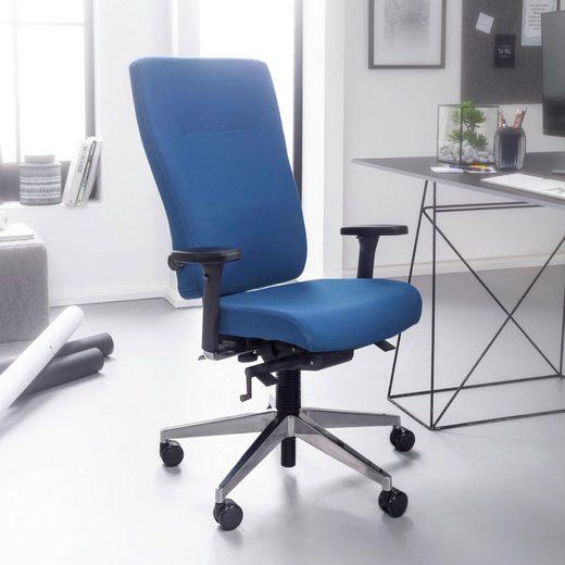Amstyle Chefsessel »SPM1.427« Bürostuhl Stoff Blau ergonomischer Profi Schreibtischstuhl höhenverstellbar Chefsessel mit gebremsten Hartboden-Rollen Drehstuhl Büro Modern