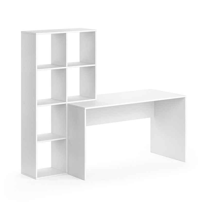 Vicco Regal-Schreibtisch »Schreibtisch mit Regal Mara Weiß Raumteiler Computertisch Arbeitstisch«
