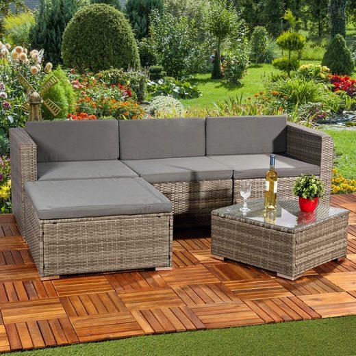 Mucola Gartenmöbelset »Polyrattan Lounge 5tlg. Gartengarnitur Sitzgruppe Gartenset Gartenmöbel Sitzgarnitur«, (5-tlg)
