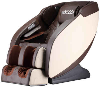 WELCON Massagesessel »Massagesessel WELCON PRESTIGE II in beige/braun oder schwarz/weiß mit Wärmefunktion, USB-Ladeanschluss, Bluetooth-Lautsprecher«