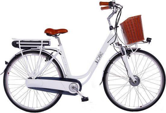 LLobe E-Bike »White Motion 2.0, 10,4Ah«, 7 Gang Shimano, Nabenschaltung, Frontmotor 250 W, (mit Fahrradkorb)