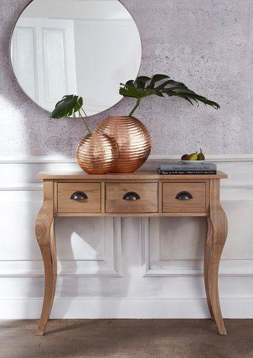 Guido Maria Kretschmer Home&Living Konsolentisch »Westhüs«, mit 3 Schubladen, massiver gekälkter Eiche und gedrechselten Beinen