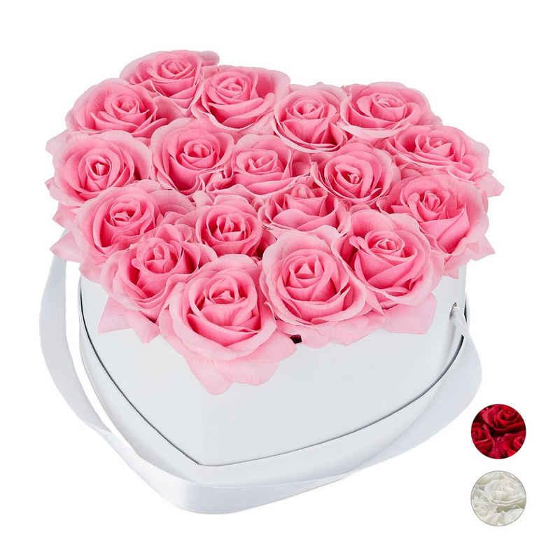 relaxdays Papierblumen »Weiße Rosenbox Herz mit 18 Rosen«