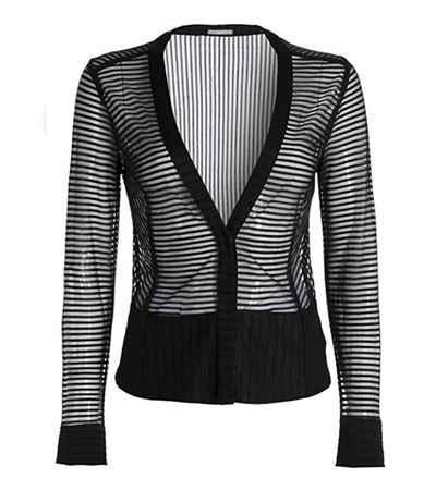 TUZZI Kurzblazer »TUZZI Blazer transparenter Damen Jersey-Blazer mit Druckknopf Jacke Schwarz«