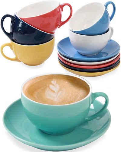 Cosumy Cappuccinotasse »6 Cappuccino Tassen Farbig«, Keramik, 6er Set aus Keramik Weiß - Mit Untertassen - Hält Lange warm - Spülmaschinenfest - 180ml