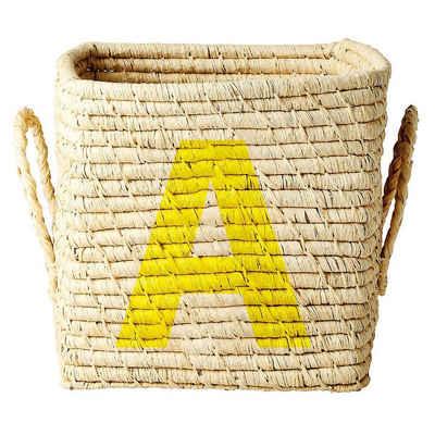 """rice Dekokorb »Bastkorb mit Buchstaben """"A"""", 20x20x20cm«"""