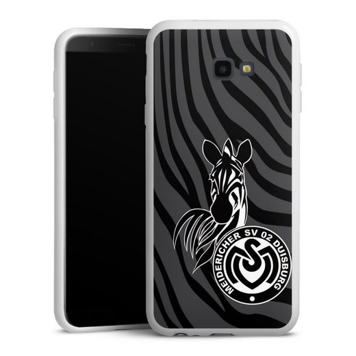 DeinDesign Handyhülle »Zebra Dunkel - MSV« Samsung Galaxy J4 Plus Duos (2018), Hülle Zebra Muster MSV Duisburg