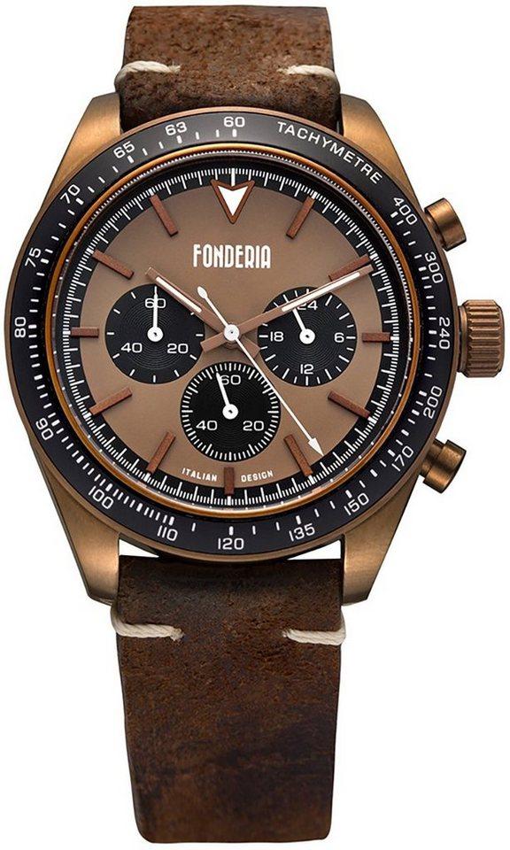 fonderia -  Chronograph »UAP9B011UMN  Herren Uhr P-9B011UMN Leder«, (Analoguhr), Herren Armbanduhr rund, groß (ca. 40mm), Lederarmband braun