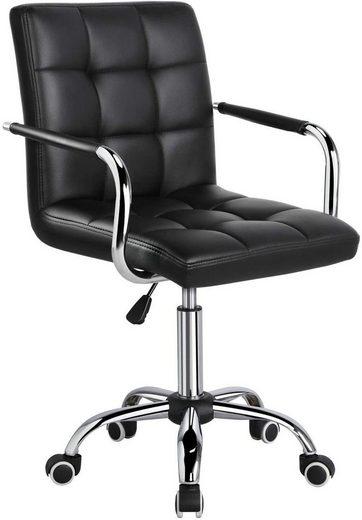 Yaheetech Drehstuhl, Bürostuhl, Schreibtischstuhl, Kunstleder Bürohocker mit Rollen, Höhenverstellbar 48-62 cm