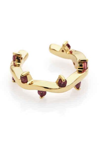Carolin Stone Jewellery Ohrklemme »Cit'azone pink - Ear cuff Rhodolith Gold«, Silberschmuck für Damen, mit Edelsteinen