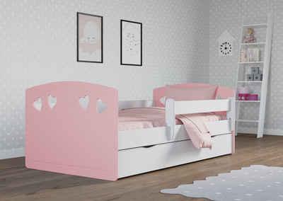Bjird Kinderbett »Julia 80x140 80x160 80x180«, Kinderbett Jugendbett 80x140 80x160 80x180 mit Rausfallschutz Schublade und Lattenrost für Mädchen