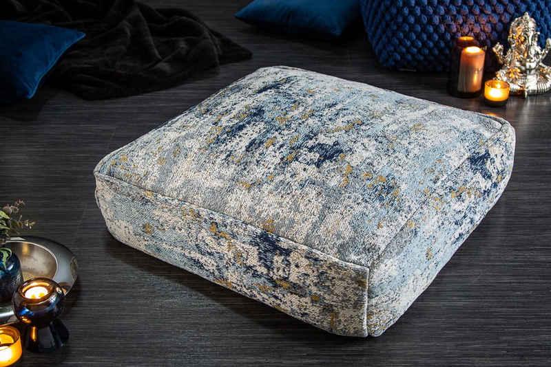 riess-ambiente Bodenkissen »XL ABSTRAKT 70cm blau / beige«, Sitzkissen · florales Muster · Maritim