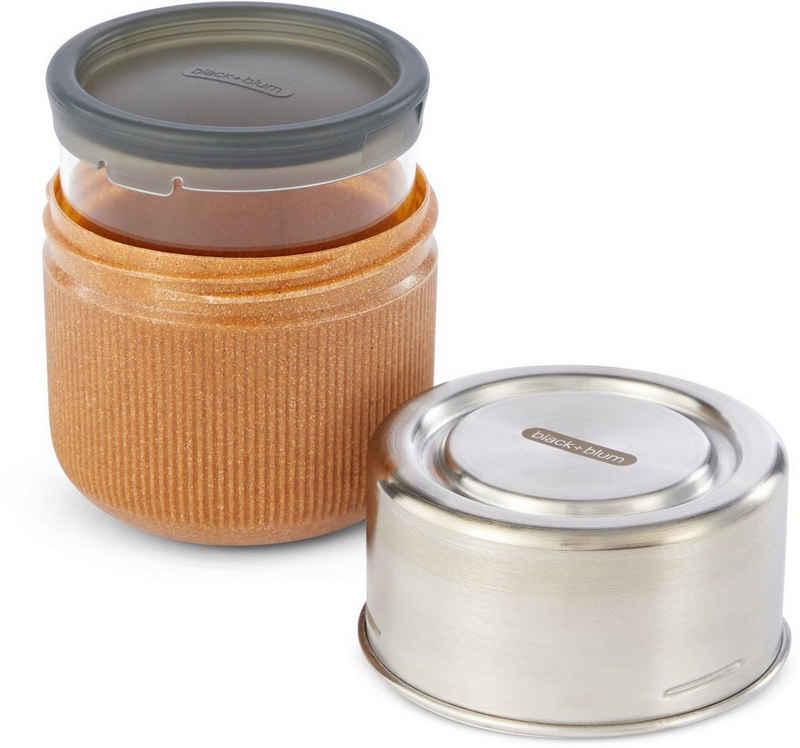 black+blum Lunchbox, Borosilikatglas, Edelstahl, (3-tlg), spülmaschinengeeignet, mit Edelstahldeckel und Silikonschutzaufleger