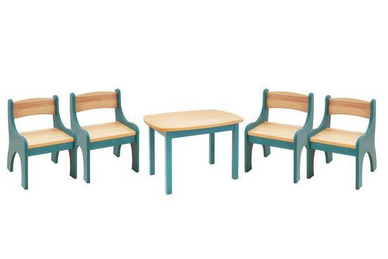 BioKinder - Das gesunde Kinderzimmer Kindersitzgruppe »Levin«, mit Tisch und 4 Stühlen, Sitzhöhe 30 cm