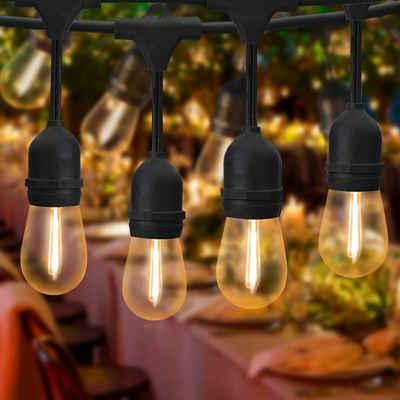ZMH LED-Lichterkette »LED Lichterkette Glühbirnen Außen S14 Beleuchtung 15m 15er LED Birnen Party Lichterkette mit 1 Ersatzbirnen IP65 Wasserdichte Innen Aussen Dekoration für Garten Balkon Weihnachten Hochzeit«