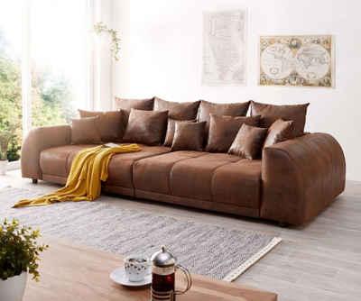 DELIFE Big-Sofa »Violetta«, Braun 310x135 cm Antik Optik inklusive Kissen Big-Sofa