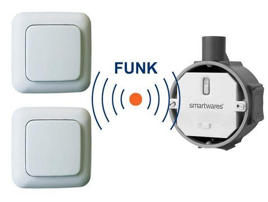 smartwares Zwischenstecker, HomeWizard SET Funk-Schalter Unterputz 230V 1000Watt + 2 Stück batteriebetriebene Wand-Lichtschalter ohne Kabel - nachrüsten