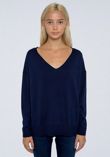 Pepe Jeans V-Ausschnitt-Pullover unifarben in klassischer Basic Form