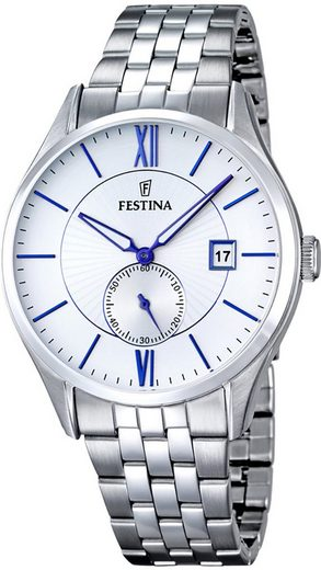 Festina Quarzuhr »UF16871/1 Festina Herren Uhr F16871/1 Edelstahl«, (Analoguhr), Herren Armbanduhr rund, Edelstahlarmband silber