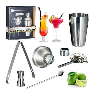 relaxdays Cocktail Shaker »Cocktailset Edelstahl 5-teilig«, Edelstahl