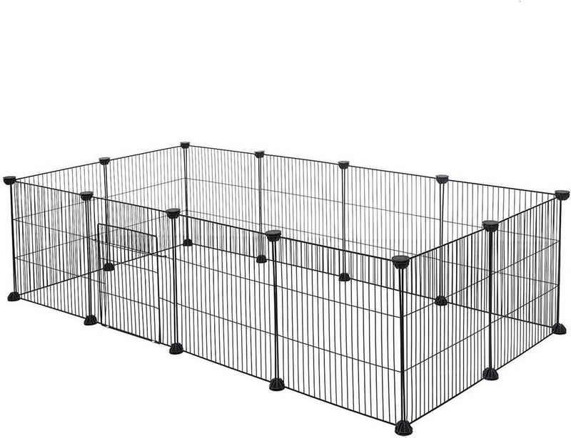 EUGAD Freigehege »0007WL«, Freigehege für Kaninchen Hasen Meerschweinchen Welpenauslauf Kleintiergehege Laufgitter mit Tür DIY 12 Platten Schwarz 142 x 72 x 36 cm