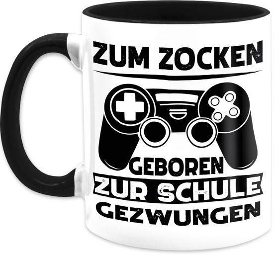 Shirtracer Tasse »Zum zocken geboren zur Schule gezwungen schwarz - Tasse mit Spruch - Tasse zweifarbig«, Keramik